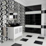 Carrelage noir et blanc salle de bain