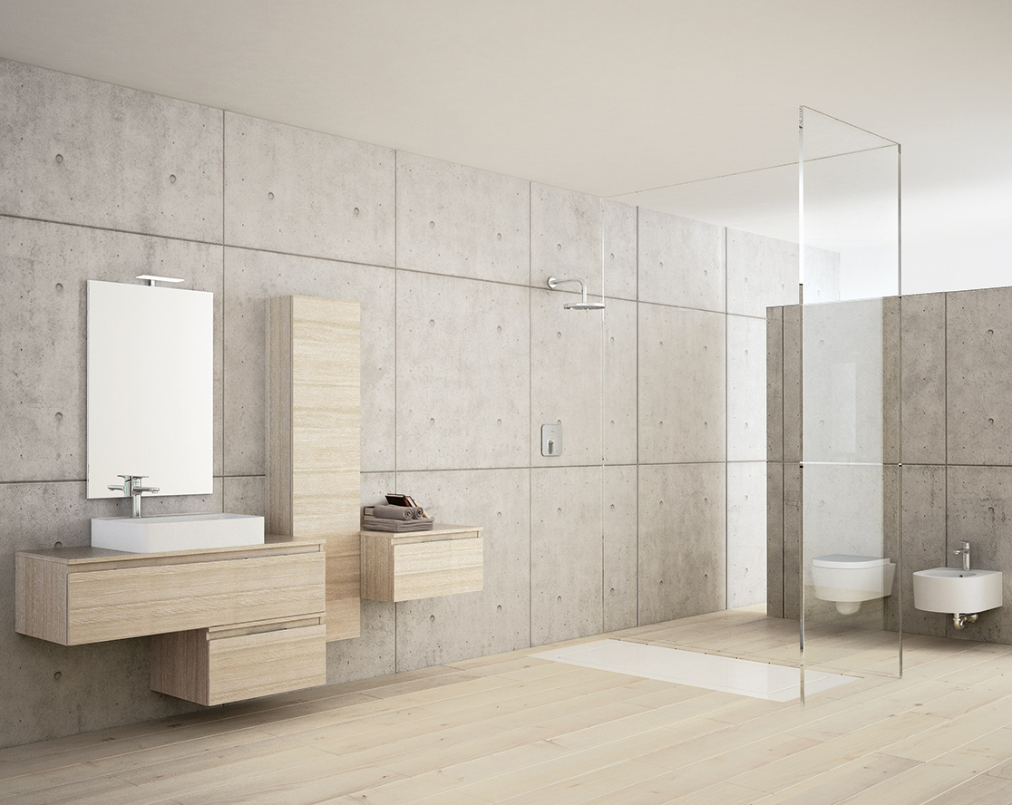 Salle de bain travertin leroy merlin for Carrelage gris salle de bain