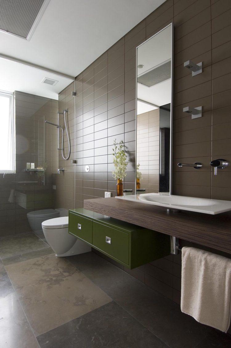 Cuisine tunisienne meuble vert for Carrelage salle de bains tendance