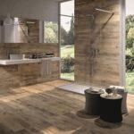 Salle de bain carrelage bois