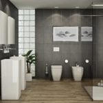 Salle de bain carrelage gris